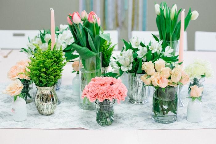 Floral Centerpieces from a Pastel Art Themed Birthday Party via Kara's Party Ideas | KarasPartyIdeas.com (19)