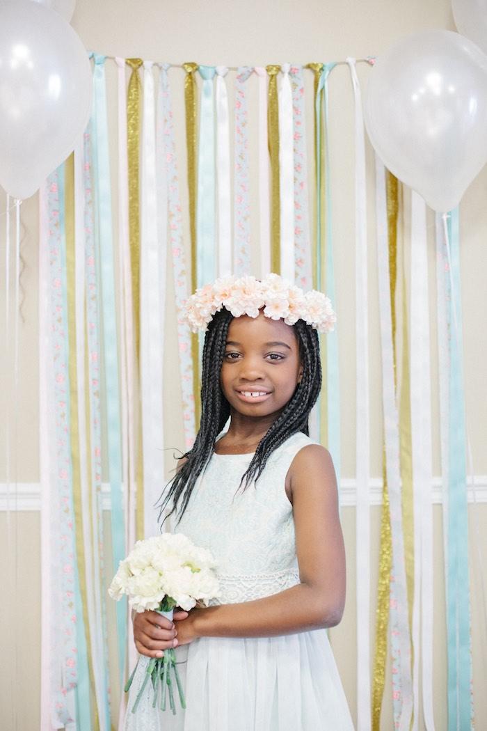 Birthday Girl + Photo Ribbon Backdrop from a Pastel Art Themed Birthday Party via Kara's Party Ideas | KarasPartyIdeas.com (14)