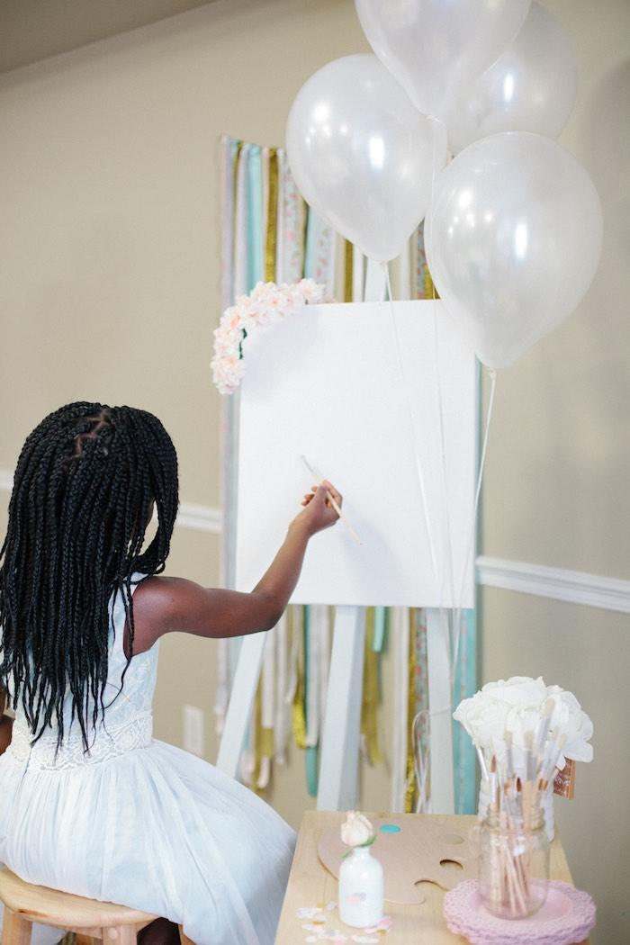 Little Girl Painting from a Pastel Art Themed Birthday Party via Kara's Party Ideas | KarasPartyIdeas.com (6)