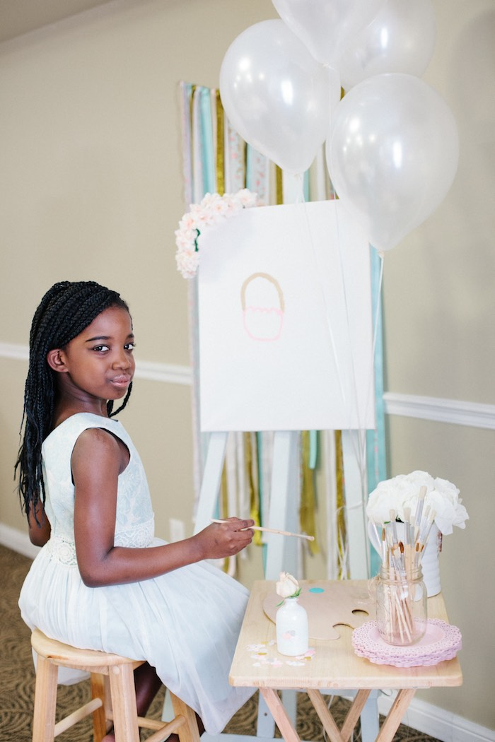 Birthday Girl Painting at a Pastel Art Themed Birthday Party via Kara's Party Ideas | KarasPartyIdeas.com (4)