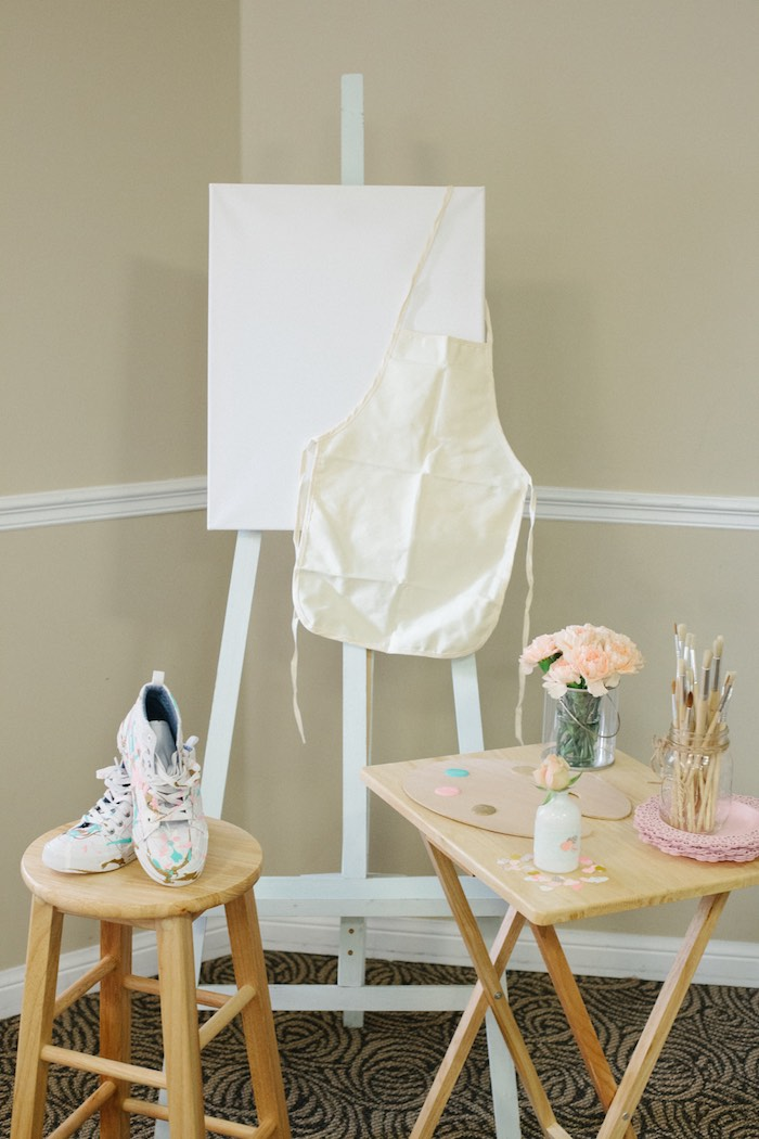 Paint Station from a Pastel Art Themed Birthday Party via Kara's Party Ideas | KarasPartyIdeas.com (39)