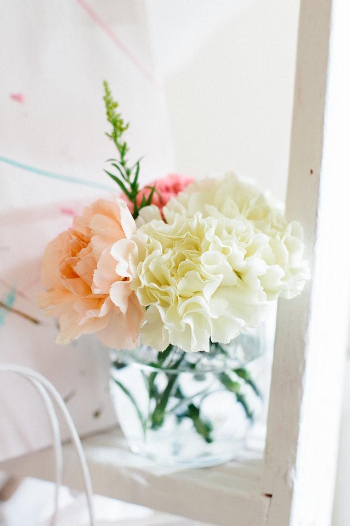 Floral Arrangement from a Pastel Art Themed Birthday Party via Kara's Party Ideas | KarasPartyIdeas.com (35)