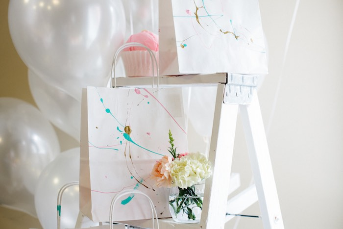 Paint Splattered Favor Bag from a Pastel Art Themed Birthday Party via Kara's Party Ideas | KarasPartyIdeas.com (34)