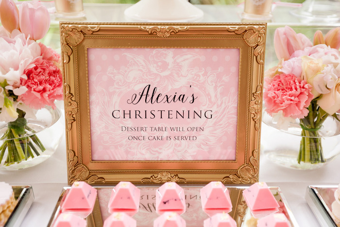 Sign + Stationery from a Pink & Gold Christening Party via Kara's Party Ideas! KarasPartyIdeas.com (17)