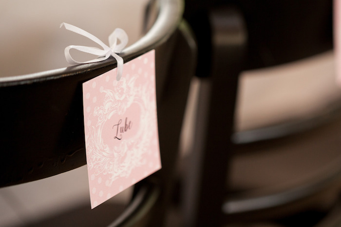 Chair Name Tag from a Pink & Gold Christening Party via Kara's Party Ideas! KarasPartyIdeas.com (13)