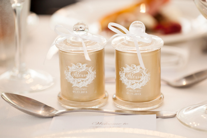 Candle Favors from a Pink & Gold Christening Party via Kara's Party Ideas! KarasPartyIdeas.com (10)