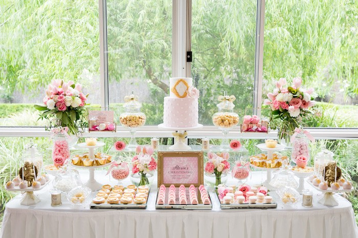 Dessert Table From A Pink Gold Christening Party Via Kara S Ideas Karaspartyideas