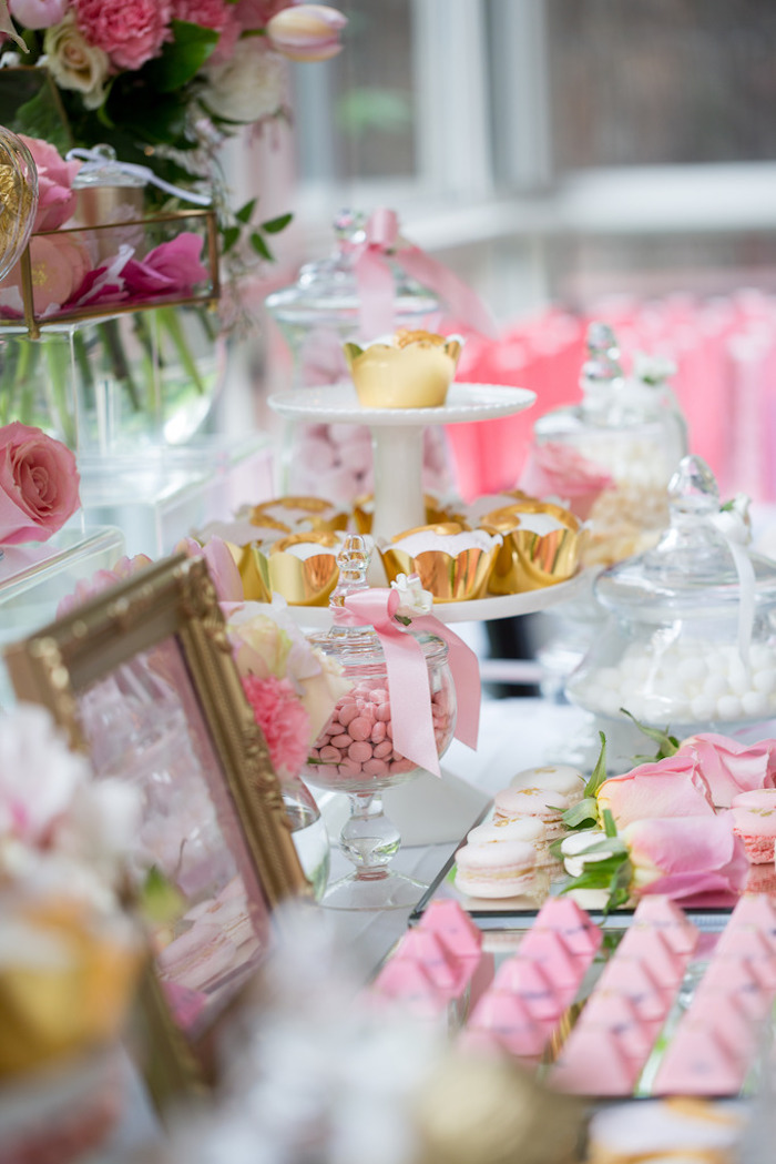 Sweet Table Details from a Pink & Gold Christening Party via Kara's Party Ideas! KarasPartyIdeas.com (4)
