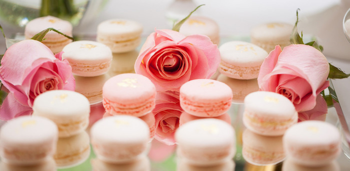 Macarons from a Pink & Gold Christening Party via Kara's Party Ideas! KarasPartyIdeas.com (3)