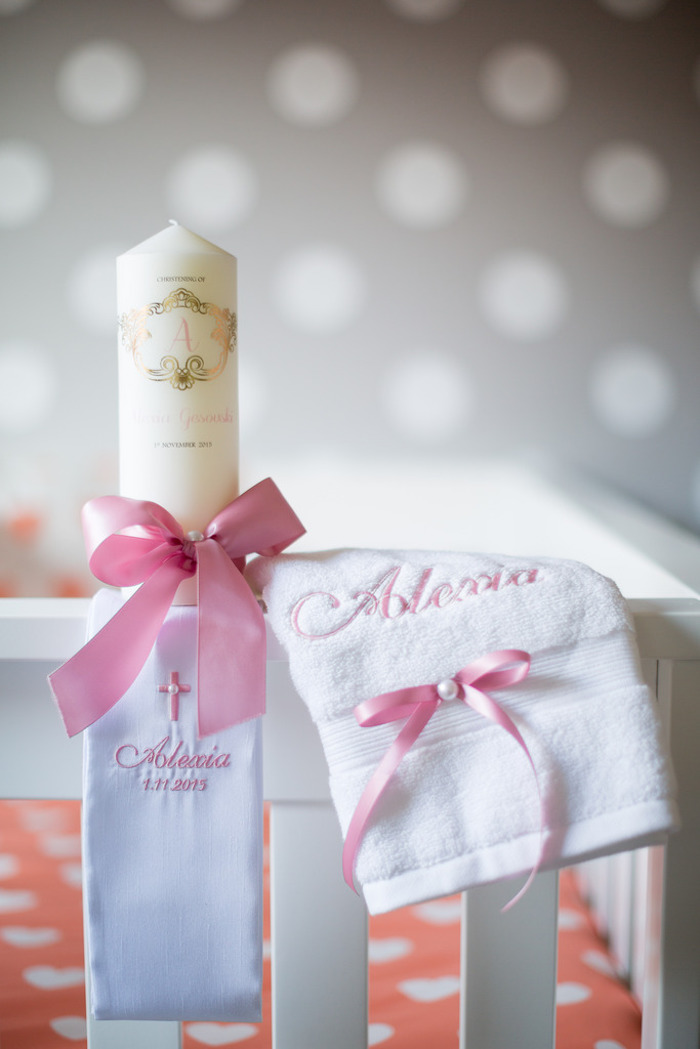 Christening Candle + Stole from a Pink & Gold Christening Party via Kara's Party Ideas! KarasPartyIdeas.com (25)