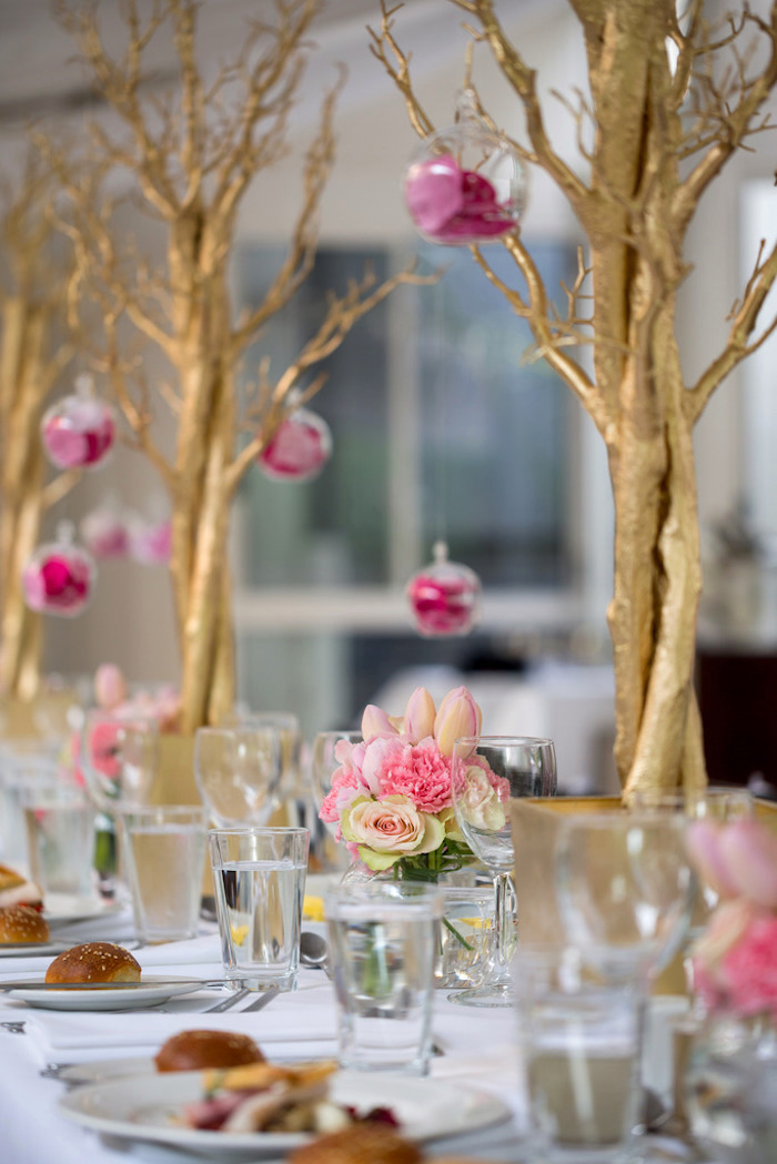 Karas Party Ideas Pink amp Gold Christening