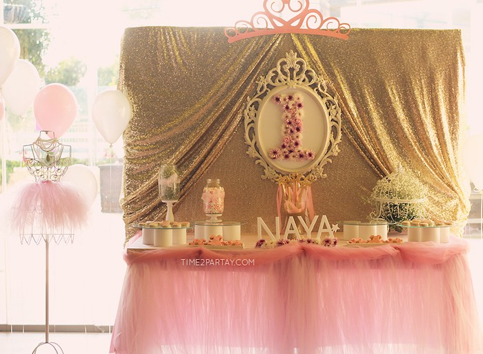 Sweet Table from a Pink & Gold Princess Party via Kara's Party Ideas | KarasPartyIdeas.com | The Place for All Things Party! (22)