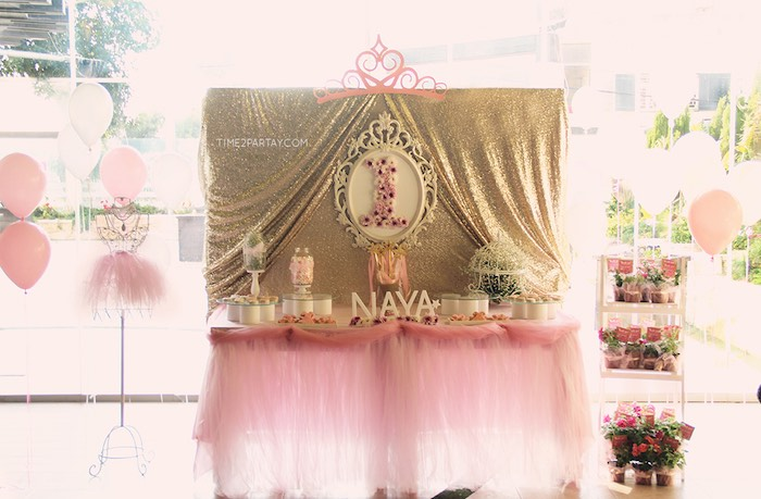 Party Display from a Pink & Gold Princess Party via Kara's Party Ideas | KarasPartyIdeas.com | The Place for All Things Party! (20)