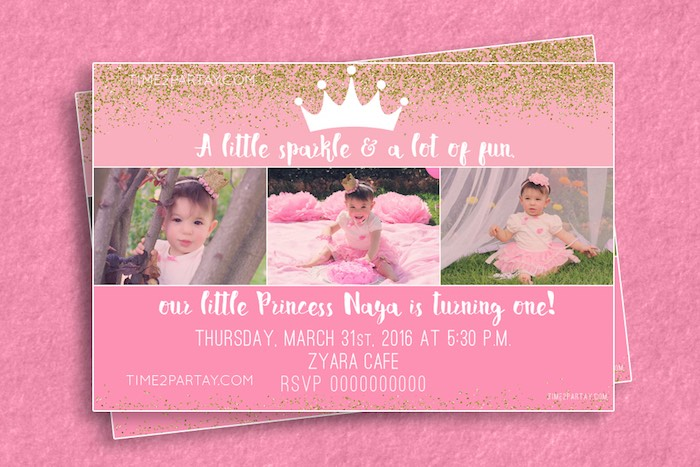 Invitation from a Pink & Gold Princess Party via Kara's Party Ideas | KarasPartyIdeas.com | The Place for All Things Party! (19)
