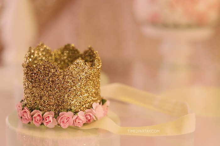 Glitter Crown for the Birthday Girl from a Pink & Gold Princess Party via Kara's Party Ideas | KarasPartyIdeas.com | The Place for All Things Party! (17)