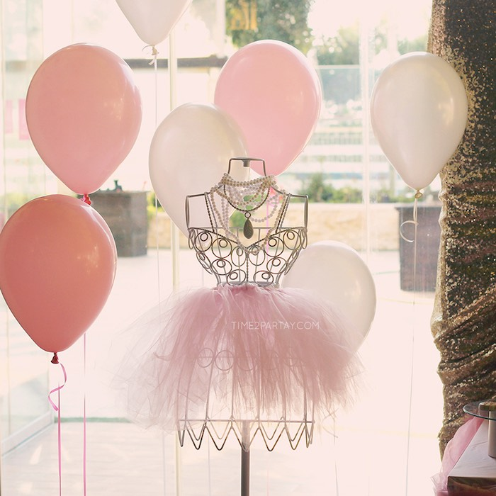 Tutu Wearing, Wire Dress Form + Balloons from a Pink & Gold Princess Party via Kara's Party Ideas | KarasPartyIdeas.com | The Place for All Things Party! (16)