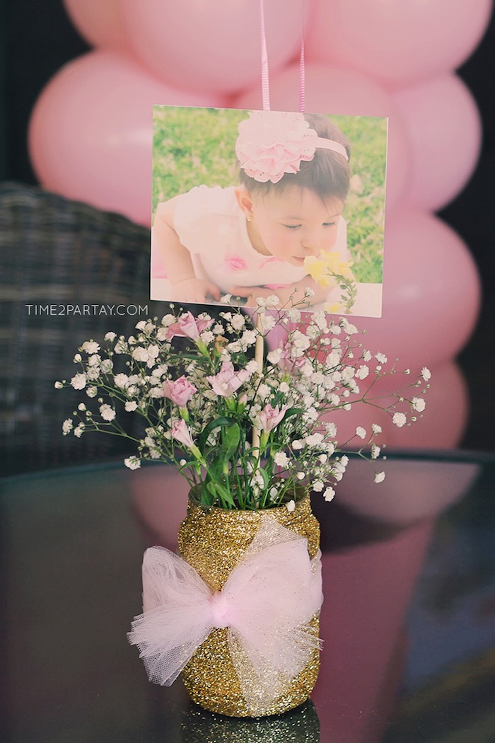 Floral, Glitter Jar Centerpiece from a Pink & Gold Princess Party via Kara's Party Ideas | KarasPartyIdeas.com | The Place for All Things Party! (15)