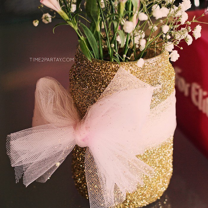 Glitter Jar + Floral Centerpiece from a Pink & Gold Princess Party via Kara's Party Ideas | KarasPartyIdeas.com | The Place for All Things Party! (14)
