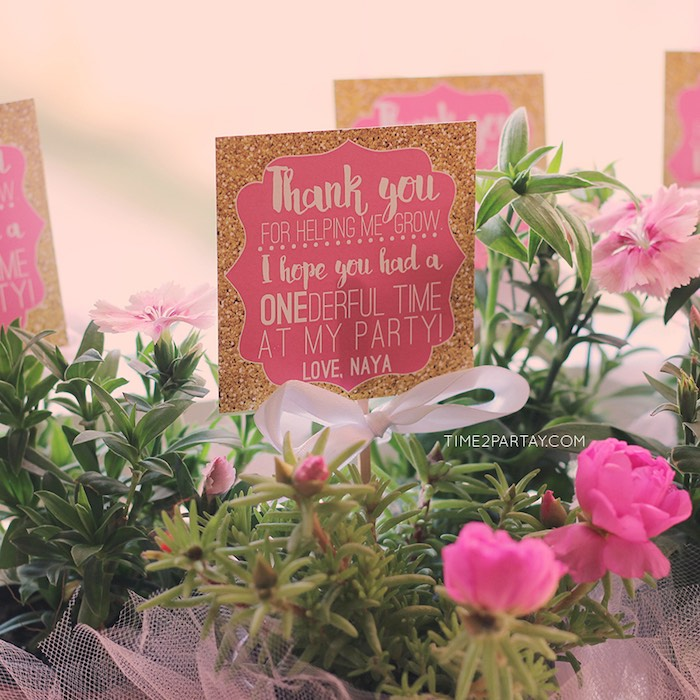 Favor Tag + Floral Plant Favors from a Pink & Gold Princess Party via Kara's Party Ideas | KarasPartyIdeas.com | The Place for All Things Party! (10)
