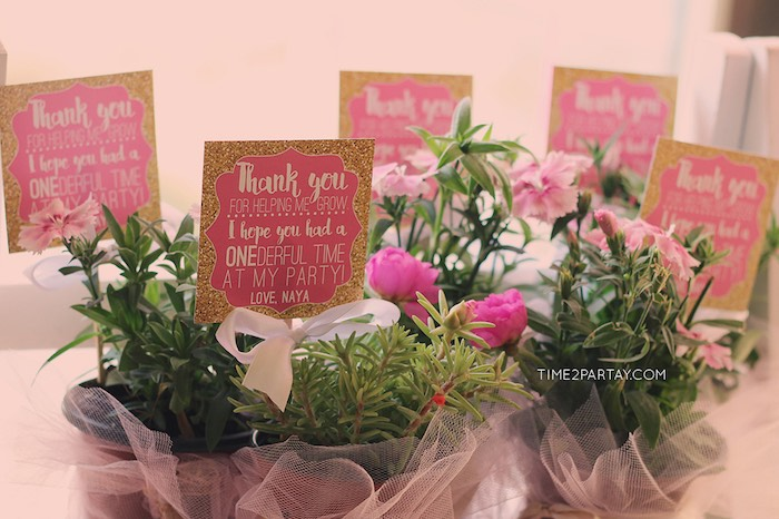Floral Plant Favors from a Pink & Gold Princess Party via Kara's Party Ideas | KarasPartyIdeas.com | The Place for All Things Party! (9)