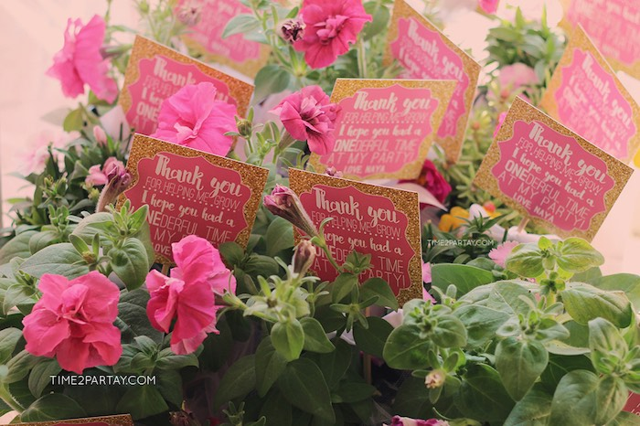 Floral Plant Favors from a Pink & Gold Princess Party via Kara's Party Ideas | KarasPartyIdeas.com | The Place for All Things Party! (7)
