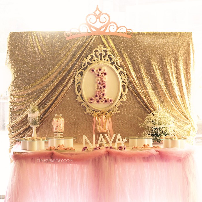 Sweet Table From A Pink Gold Princess Party Via Karas Ideas