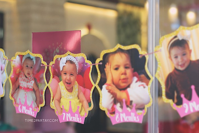 First Year Photo Banner from a Pink & Gold Princess Party via Kara's Party Ideas | KarasPartyIdeas.com | The Place for All Things Party! (4)
