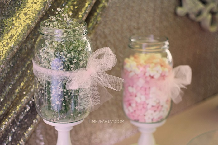 Florals placed in a Jar + from a Pink & Gold Princess Party via Kara's Party Ideas | KarasPartyIdeas.com | The Place for All Things Party! (32)