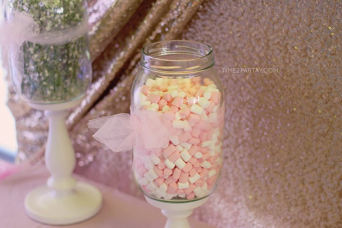 Buttermint Creams placed in a Jar from a Pink & Gold Princess Party via Kara's Party Ideas | KarasPartyIdeas.com | The Place for All Things Party! (29)