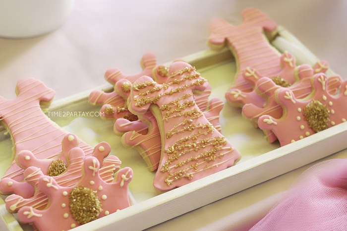 Cookies from a Pink & Gold Princess Party via Kara's Party Ideas | KarasPartyIdeas.com | The Place for All Things Party! (27)