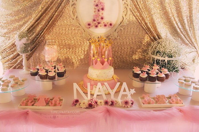 Sweet Table Details from a Pink & Gold Princess Party via Kara's Party Ideas | KarasPartyIdeas.com | The Place for All Things Party! (26)