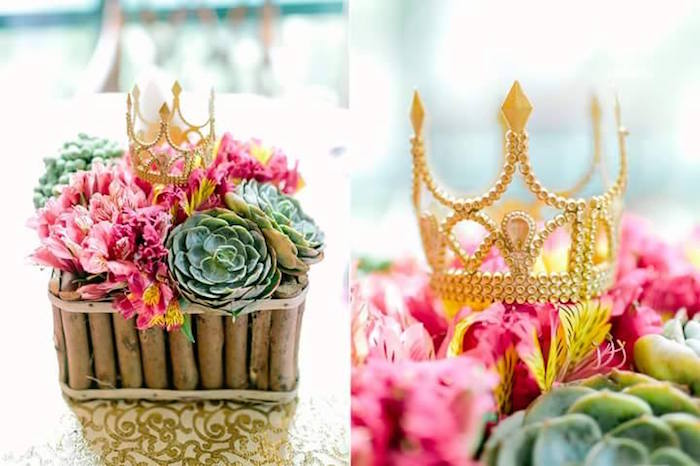 Floral + Succulent Centerpiece from a Pink Princess Baptism Party via Kara's Party Ideas | The Place for All Things Party! KarasPartyIdeas.com (22)