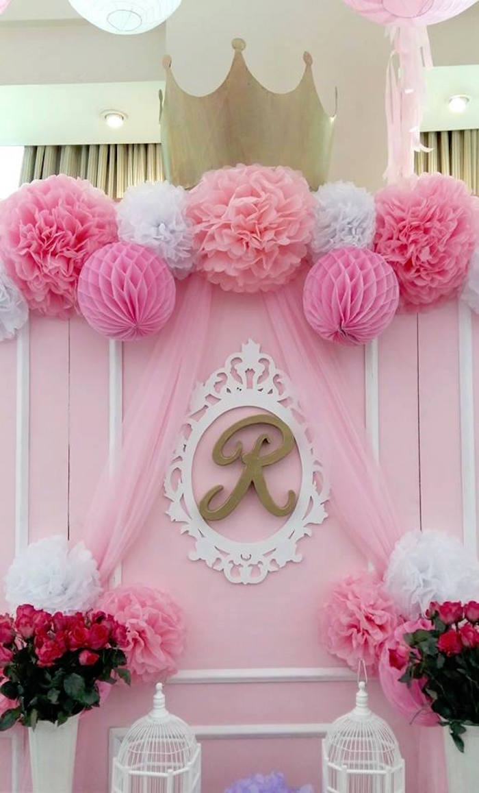 Kara 39 s party ideas pink princess baptism party kara 39 s for Baby girl baptism decoration ideas