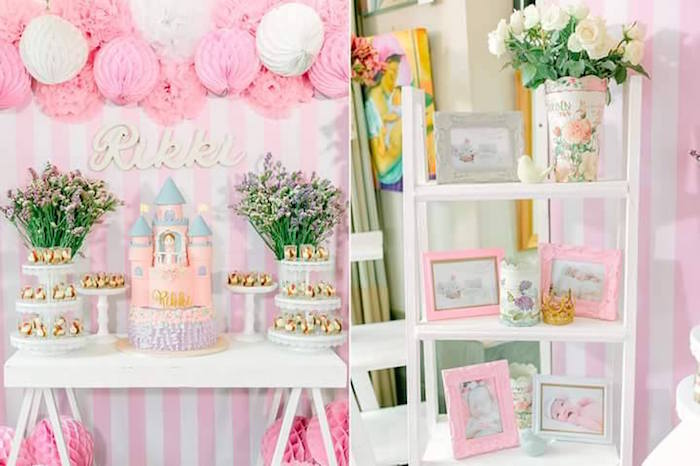 Sweet Table + Decor Details from a Pink Princess Baptism Party via Kara's Party Ideas | The Place for All Things Party! KarasPartyIdeas.com (18)