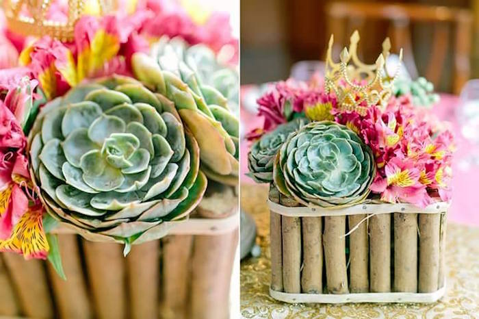 Succulent Floral Centerpieces from a Pink Princess Baptism Party via Kara's Party Ideas | The Place for All Things Party! KarasPartyIdeas.com (15)