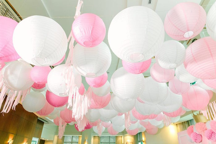 Canopy of Hanging Decorations from a Pink Princess Baptism Party via Kara's Party Ideas | The Place for All Things Party! KarasPartyIdeas.com (14)