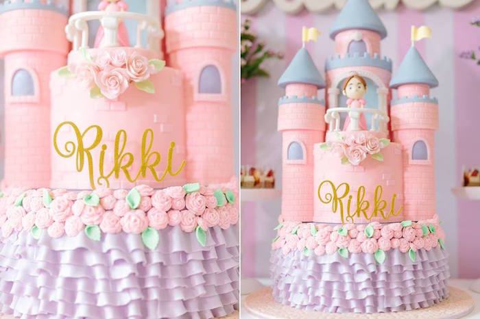 Cake from a Pink Princess Baptism Party via Kara's Party Ideas | The Place for All Things Party! KarasPartyIdeas.com (3)