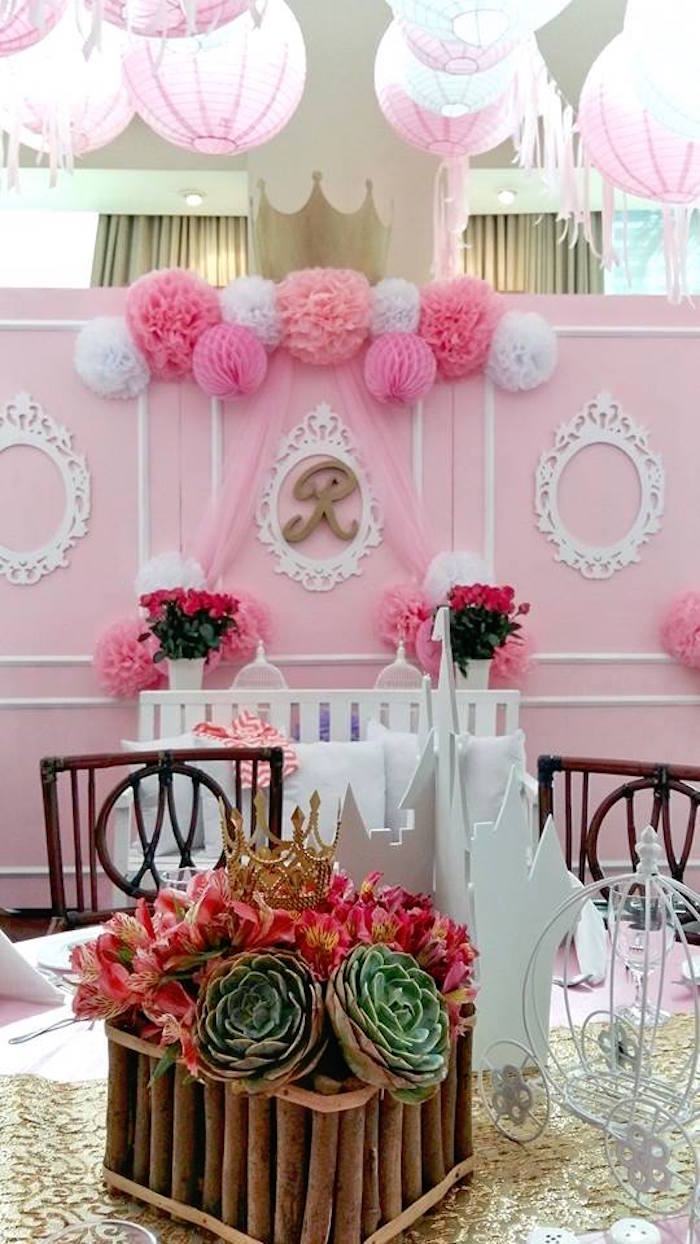 From kara s party ideas rustic dessert table display designed by - Guest Table Backdrop From A Pink Princess Baptism Party Via Kara S Party Ideas The