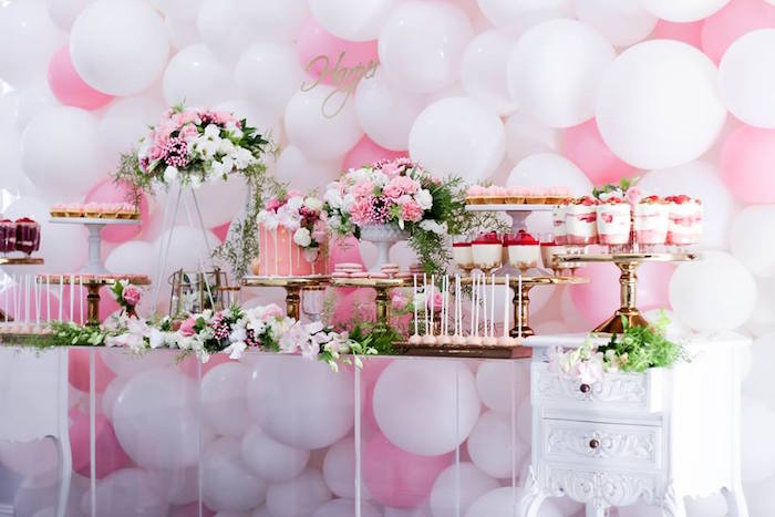 Dessert Table from a Pink + White & Gold Garden Party via Kara's Party Ideas | KarasPartyIdeas.com (18)