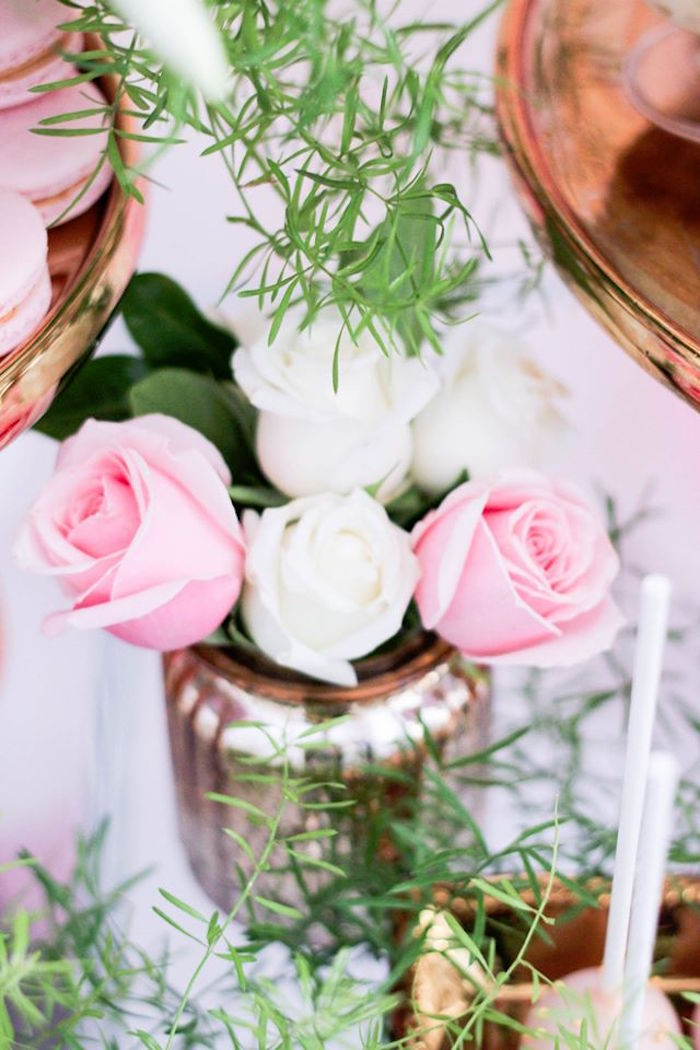 Floral Arrangement from a Pink + White & Gold Garden Party via Kara's Party Ideas | KarasPartyIdeas.com (17)