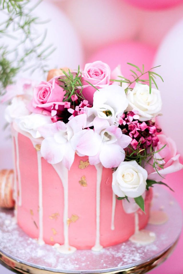 Cake from a Pink + White & Gold Garden Party via Kara's Party Ideas | KarasPartyIdeas.com (16)
