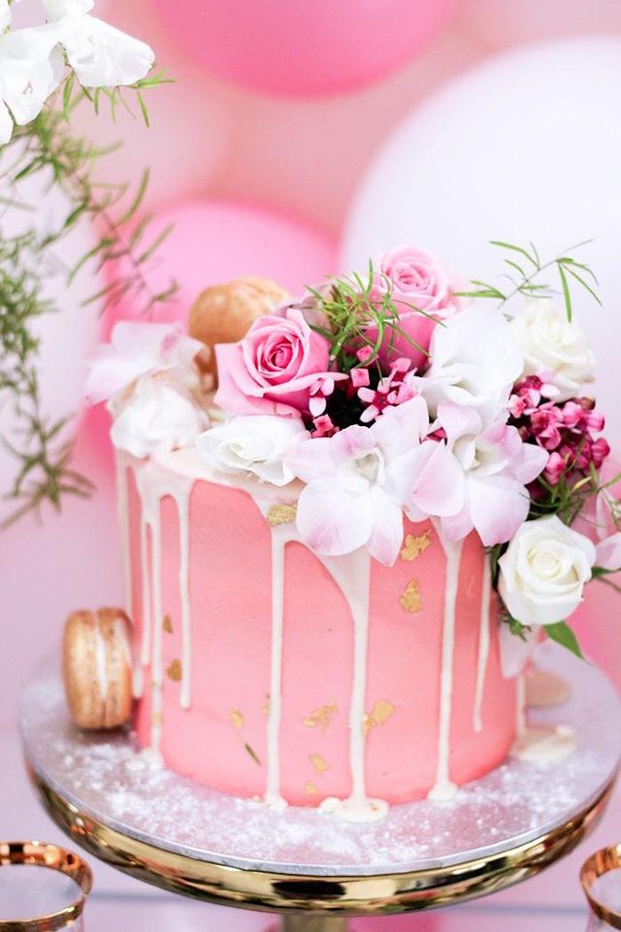 Cake From A Pink White Gold Garden Party Via Karas Ideas