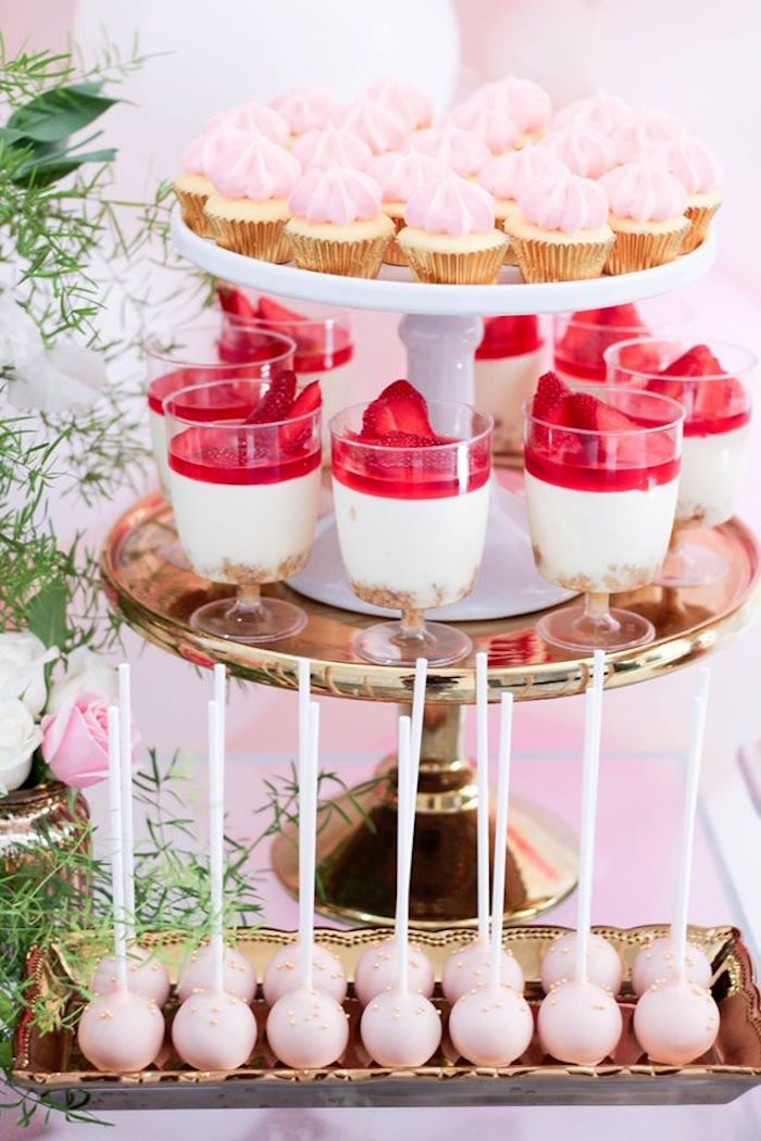 Desserts from a Pink + White & Gold Garden Party via Kara's Party Ideas | KarasPartyIdeas.com (13)