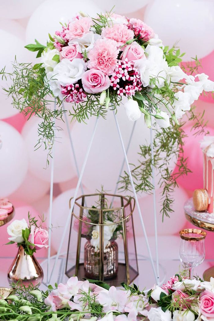 Floral Decor from a Pink + White & Gold Garden Party via Kara's Party Ideas | KarasPartyIdeas.com (12)