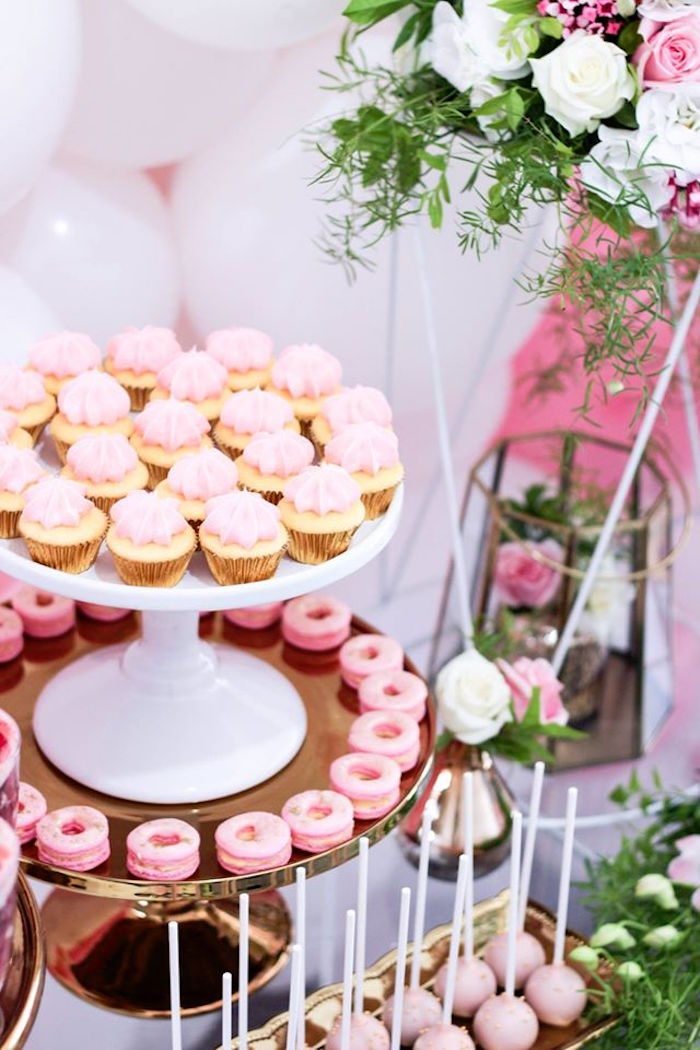 Desserts from a Pink + White & Gold Garden Party via Kara's Party Ideas | KarasPartyIdeas.com (11)