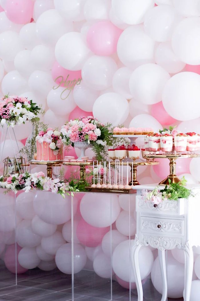 Full View Of A Dessert Table From Pink White Gold Garden Party