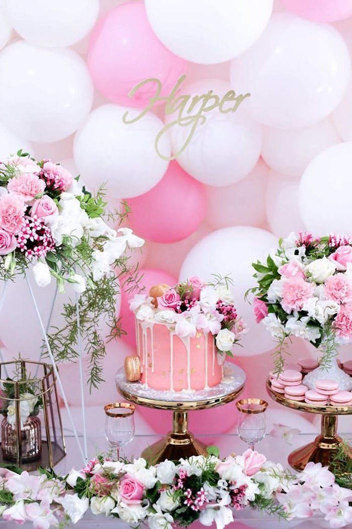 Cake Display From A Pink White Gold Garden Party Via Karas Ideas