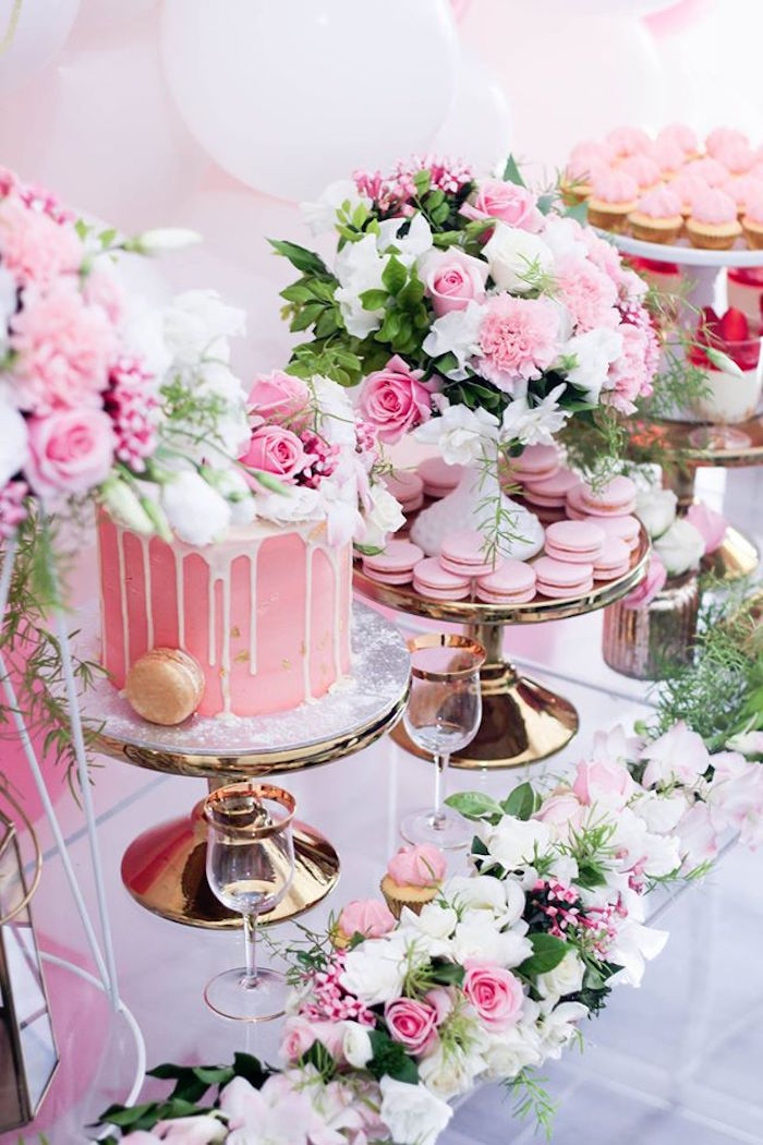 Kara s party ideas pink white gold garden