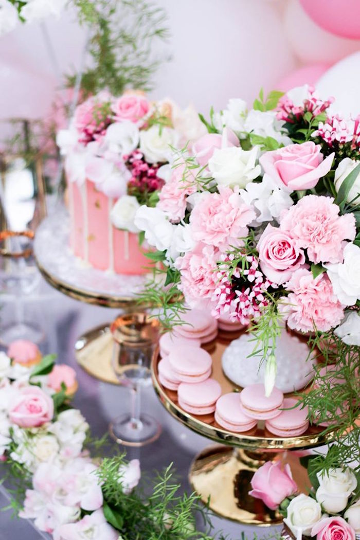 Floral Details + Macarons from a Pink + White & Gold Garden Party via Kara's Party Ideas | KarasPartyIdeas.com (6)