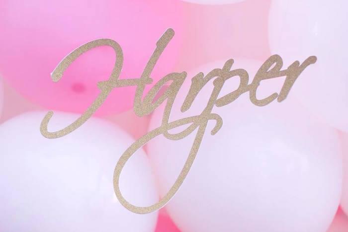 Name Banner + Sign from a Pink + White & Gold Garden Party via Kara's Party Ideas | KarasPartyIdeas.com (26)